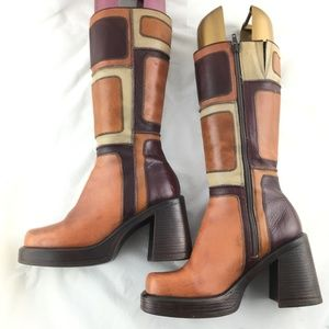 14c57cf2580 Vintage 90s boots tall brown patch square chunky 7